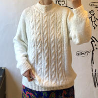 lady's white color stand collar sweater