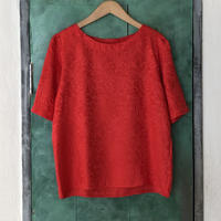 lady's red gloss silk tops