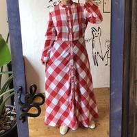 lady's plaid pattern maxi length one-piece