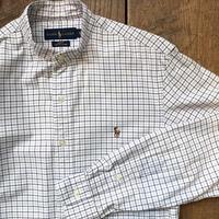 Men's RALPH LAUREN L/S stand collar oxford check shirts(Men's S)