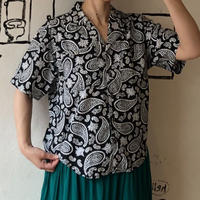 lady's paisley pattern open collar blouse