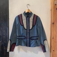 lady's denim&flower patchwork jacket