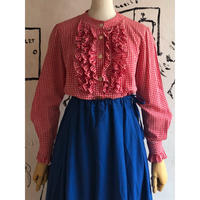 lady's vintage gingham check frill design blouse