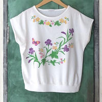 lady's floral print french sleeve tops