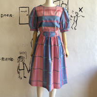 lady's plaid  pattern balloon sleeve one-piece