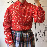 lady's painting style pattern blouse(red)