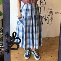 lady's blue gradation check skirt