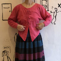 lady's pink color race up tops
