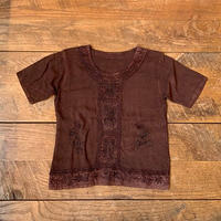 lady's brown embroidery top