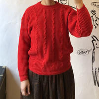 lady's red color cable knitting sweater