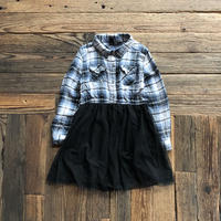 kids L/S flannel check&tulle onepiece(5T/110cm)