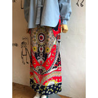 lady's 1970's vintage  patterned maxi length tight silhouette skirt