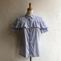 lady's stripe pattern  frill blouse