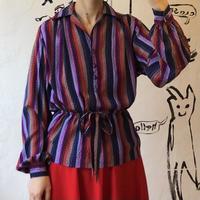 lady's stripe pattern open collar tops
