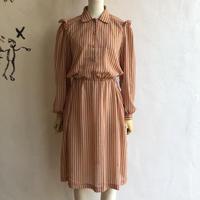lady's stripe pattern shoulder frill design one-piece