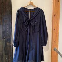 lady's navy dot ribbon dress