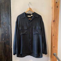 lady's  black silk shirts tops
