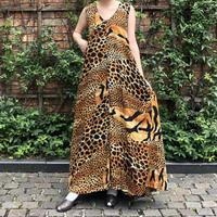lady's animal pattern × black color reversible maxi length dress