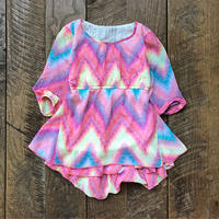 kids psychederic chevron pattern half sleeve tops(6T/120cm)