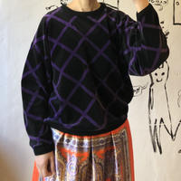 lady's plaid pattern velours tops