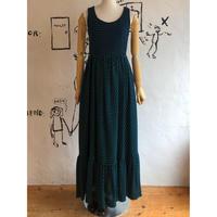 lady's border×dot pattern  jacquard maxi length dress