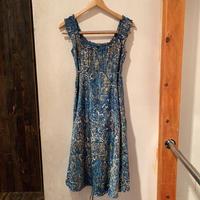 lady's blue design dress