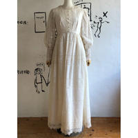 lady's 1970's vintage all white lace maxi dress