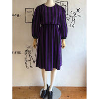lady's purple×black stripe one-piece