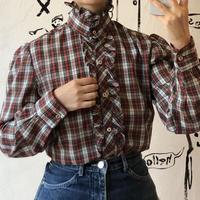 lady's plaid pattern frill blouse