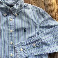 kids RALPH LAUREN L/S B.D stripe shirts(8T/135〜140cm)
