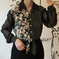 lady's see-through sleeve blouse