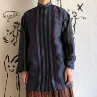 lady's stand collar stripe shirt