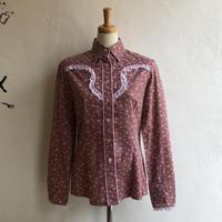 lady's floral pattern lace yoke  western shirt