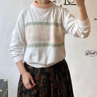 lady's sweat × knit switching tops