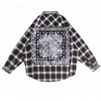WOSS.official/Oversized BANDANA flannel shirts BLACK