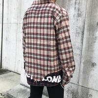 BLACK BLOND/Layered check shirts BEIGE