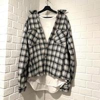 "EPTM/Tweed Heavy Flannel shirt ""White✖︎Black"""