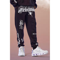 BOOHOO /Art Print SweatPants Washed BLACK  (set up)