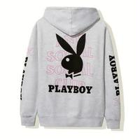 Anti Social Social Club × PLAYBOY/LOGO Hoodie GREY