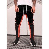 GUAPI/Biker Track Pants BLACK Orange Line