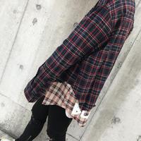 BLACK BLOND/Layered check shirts NAVY