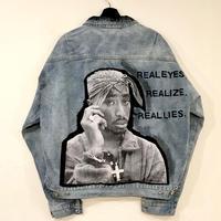 Mismatch NYC/2pac paint denim jacket BLUE