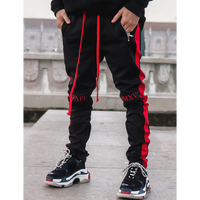 GUAPI/Track Pants BLACK  (red line)