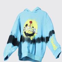 BOOHOO /Drip face tie die hoodie BLUE