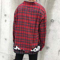 BLACK BLOND/Layered check shirts RED