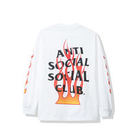 Anti Social Social Club/FLAME Logo Long Sleeve  WHITE