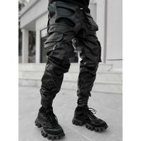 GUAPI/ Obsidian BLACK  Leather Cargo pants