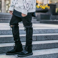 Crysp Denim/Black Dameged denim