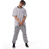 FNTY/Check Border track pants  ブラック