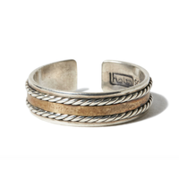 hobo : 925 Silver Wire Ring with Brass Plate